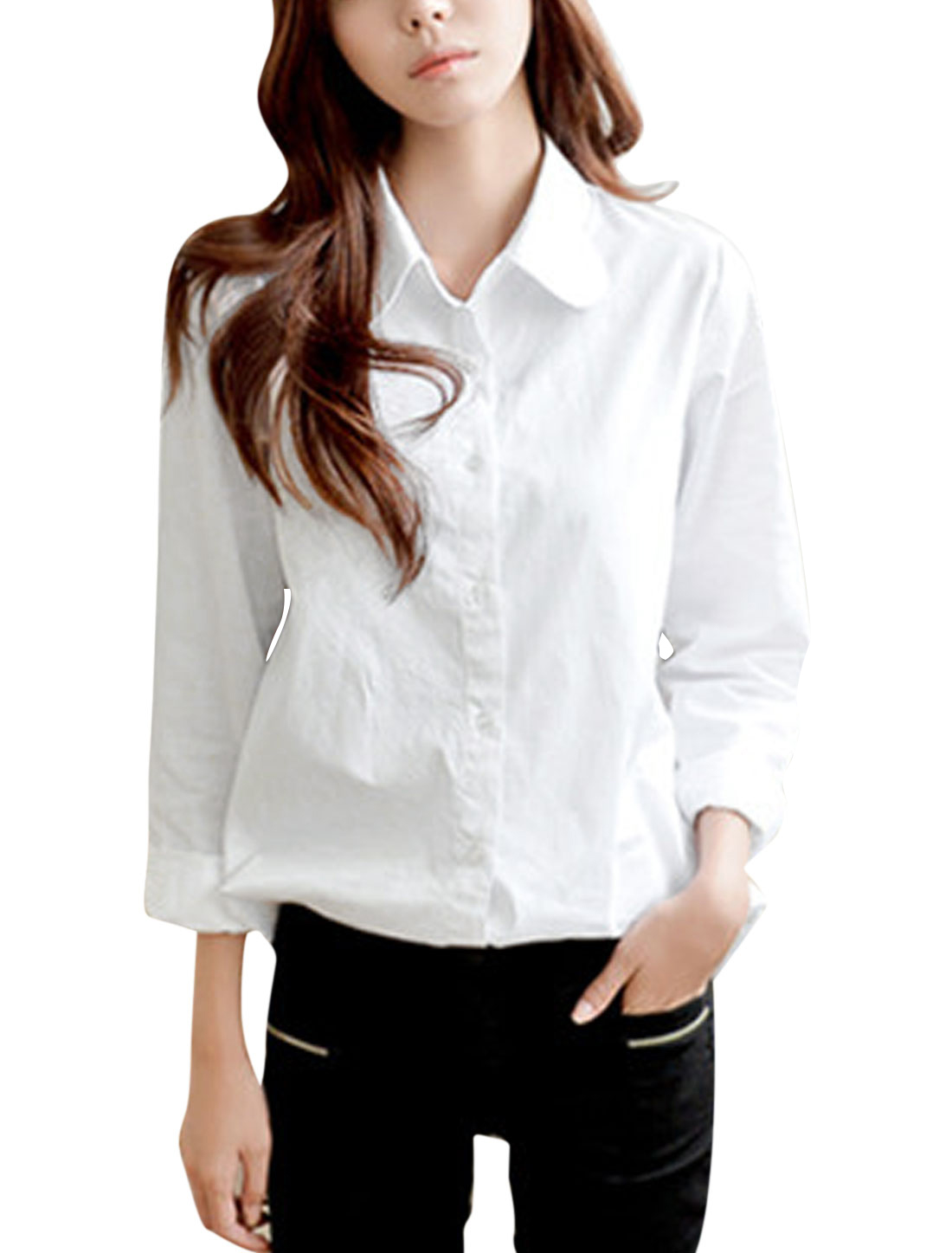 Ladies Turn Down Collar Single Breasted Long Sleeves Casual Shirt White S
