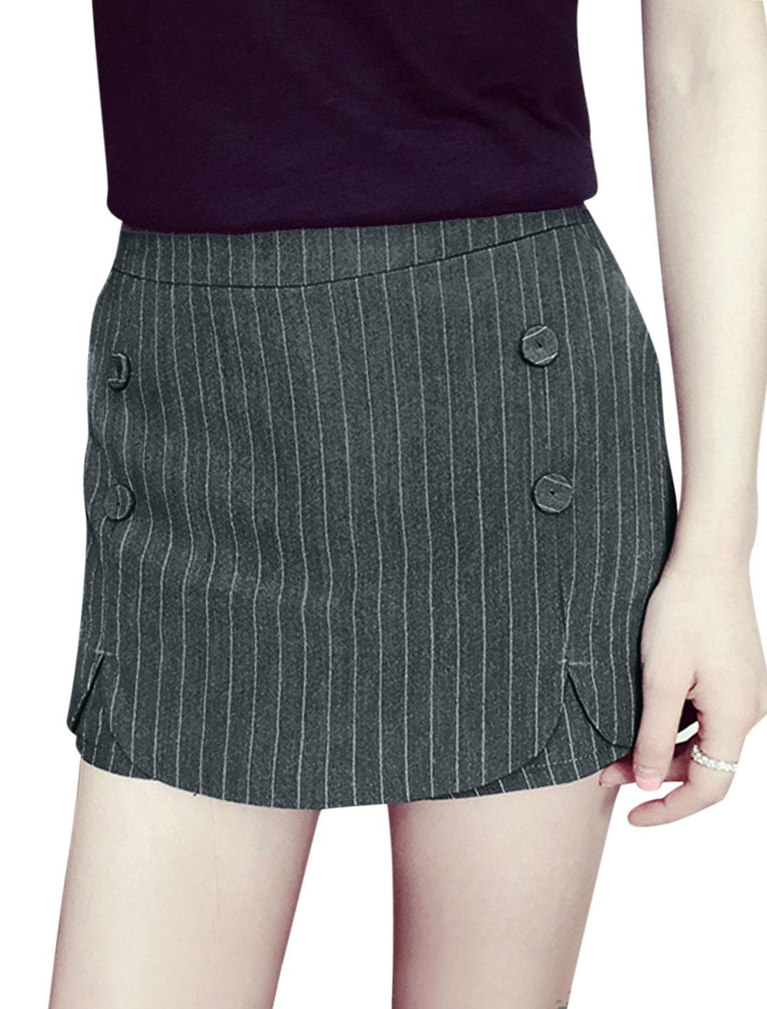 Women Mid Rise Stripes Mock Hip Pockets Mini Skorts Dark Gray M