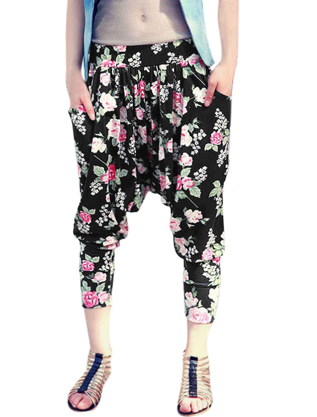 Woman Floral Prints Elastic Waist Slant Pockets Side Harem Pants Black XS