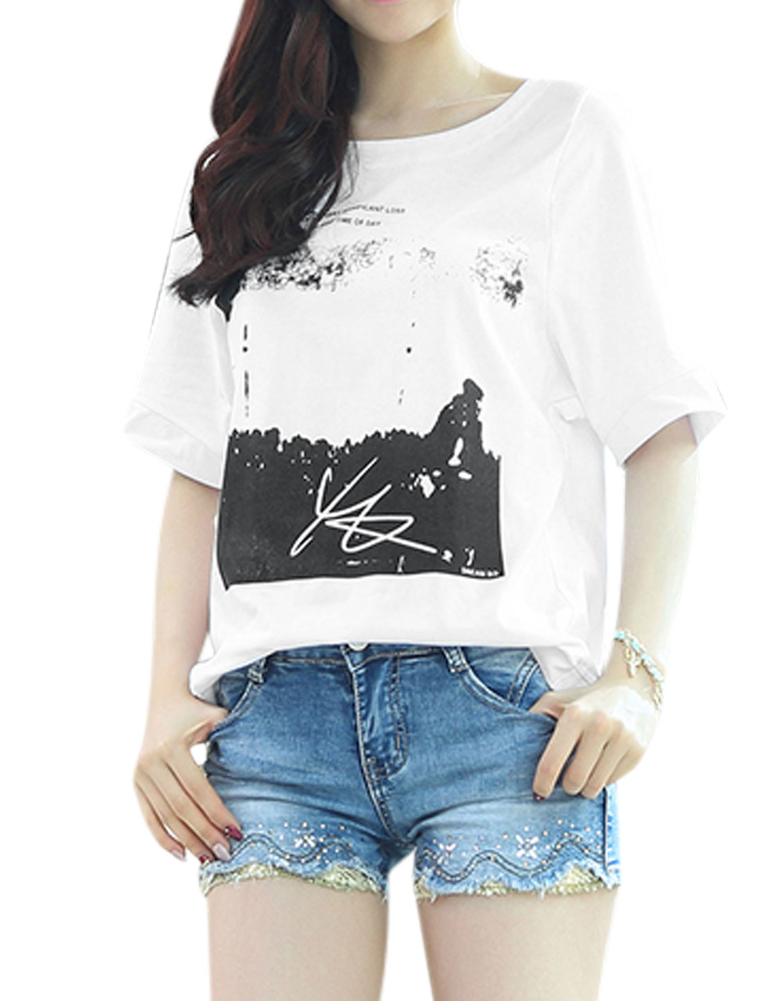 Woman Letters Novelty Prints Round Neck Short Sleeves Casual Tee White XS