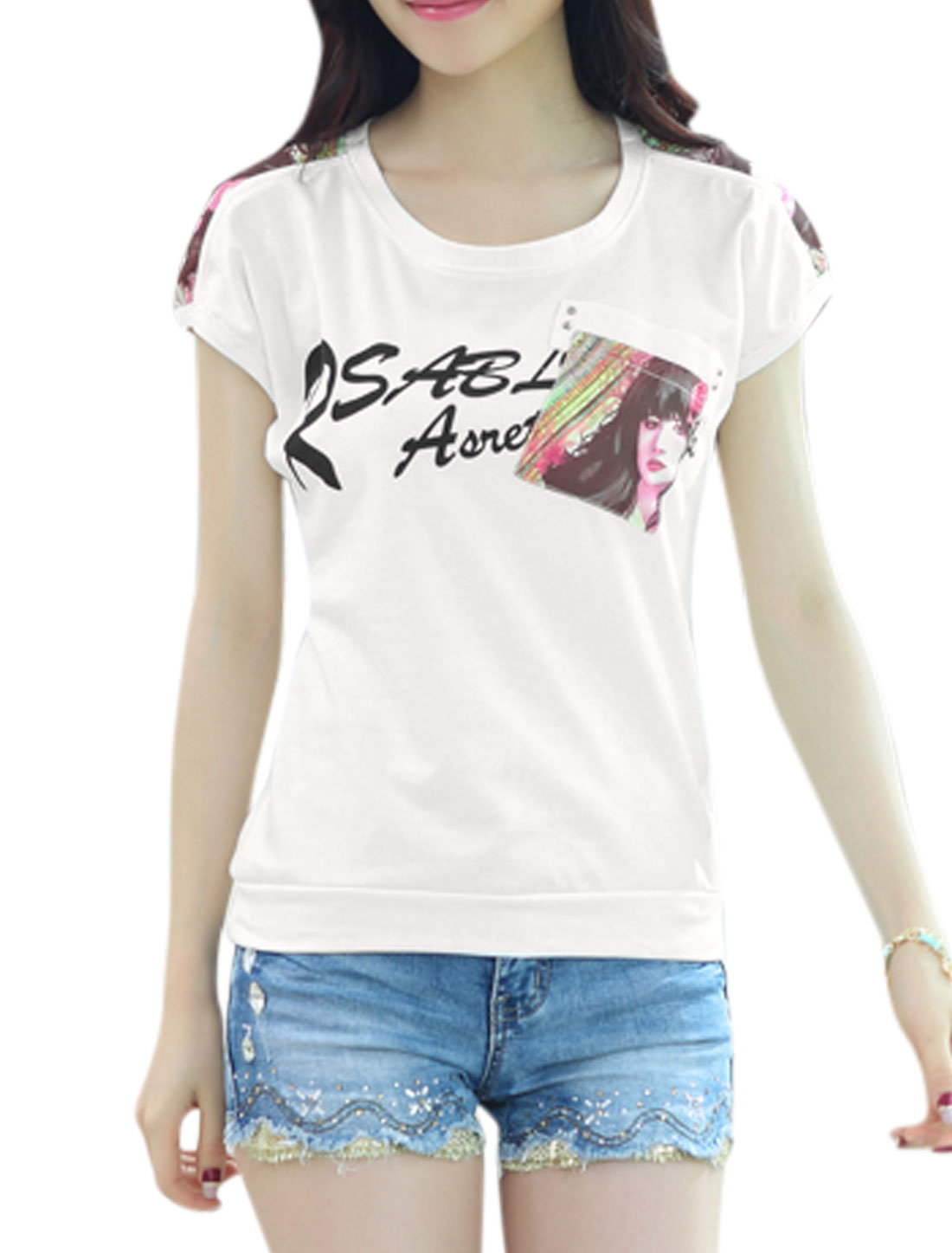 Woman Letters Prints One Patch Chest Pocket Short Sleeves Casual Top White XS