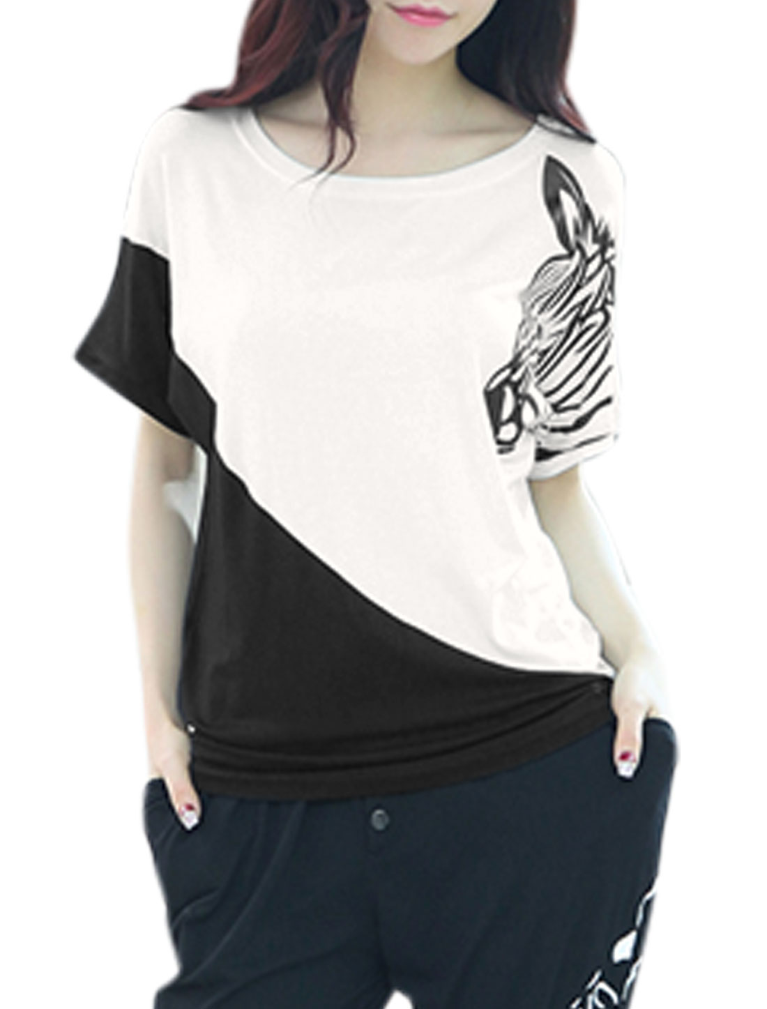 Woman Zebra Head Pattern Contrast Color Short Sleeves Casual Top White XS