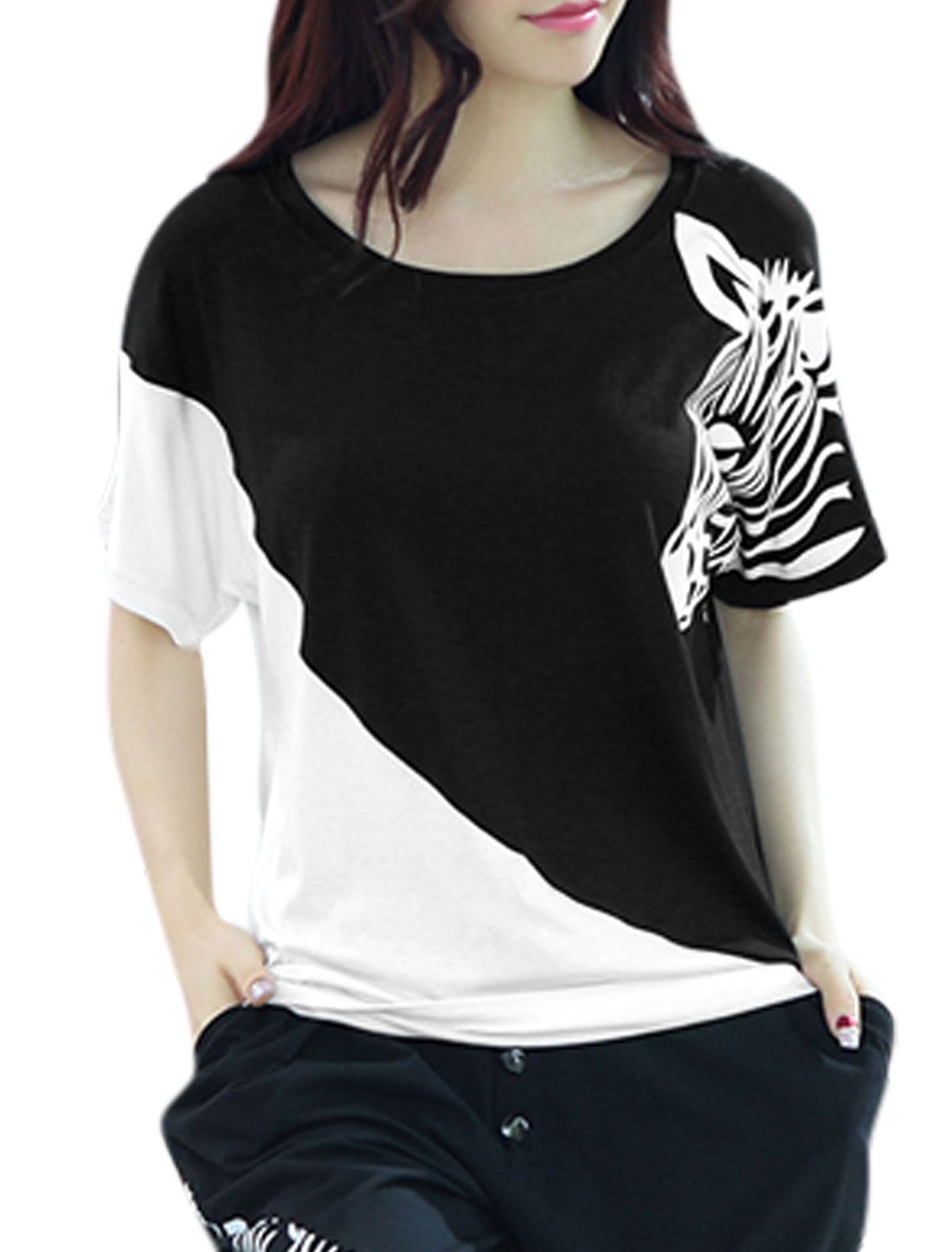 Woman Zebra Head Pattern Contrast Color Casual Top Black XS