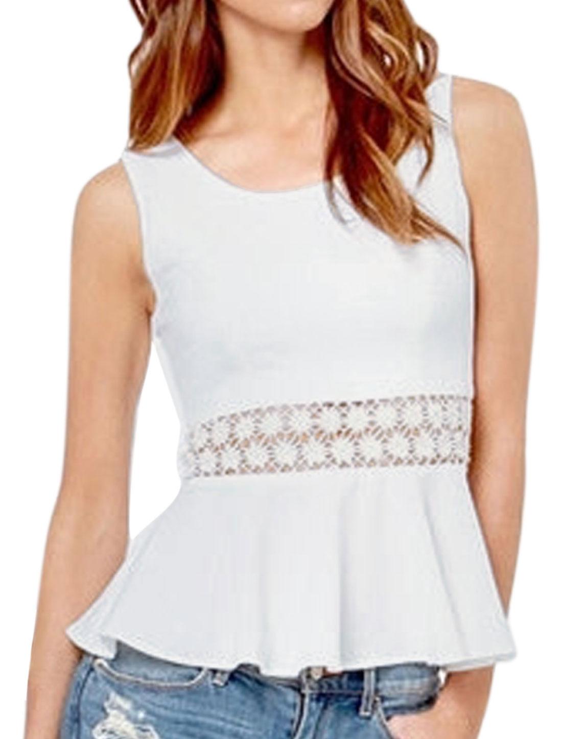 Women Round Neck Sleeveless Crochet Peplum Tops White S