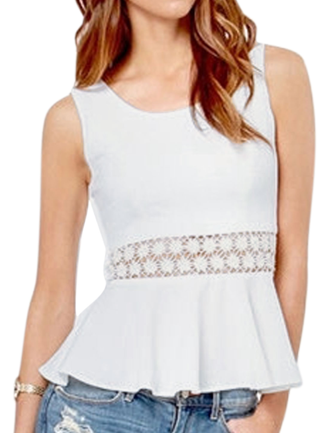 Ladies Round Neck Sleeveless Crochet Slipover Peplum Tops White XS