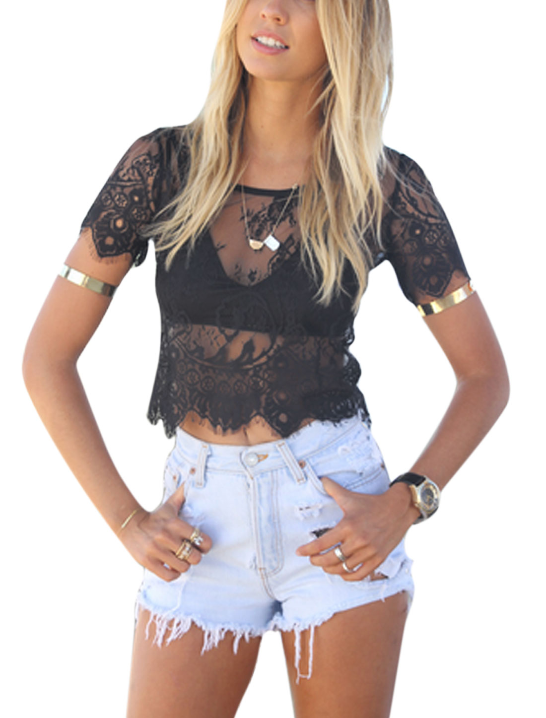 Women Round Neck Short Sleeves Zipper Back Lace Cropped Tops Black XS