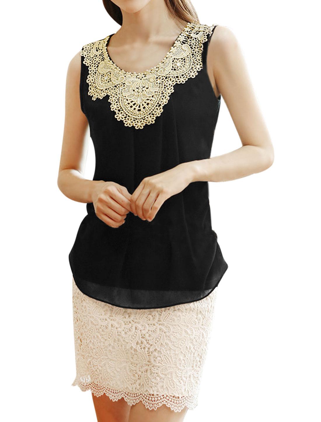 Ladies Round Neck Sleeveless Crochet Embroidery Casual Shirt Black M