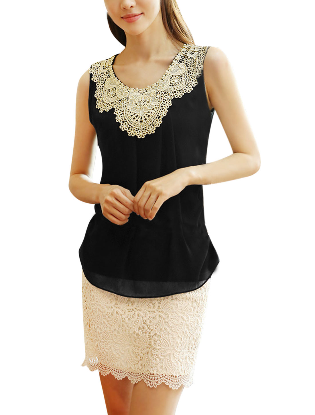 Ladies Sleeveless Crochet Embroidery Chiffon Tops Black S