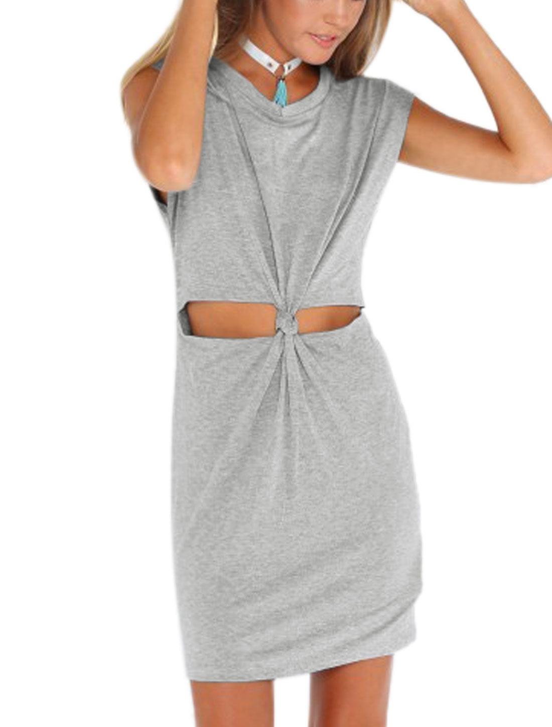 Ladies Sleeveless Round Neck Cut Out Front Dress Light Gray M