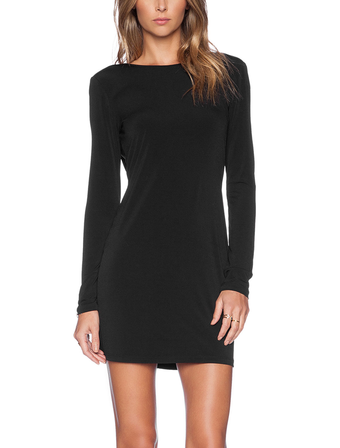 Woman Round Neck Long Sleeves Backless Slipover Sheath Dress Black M