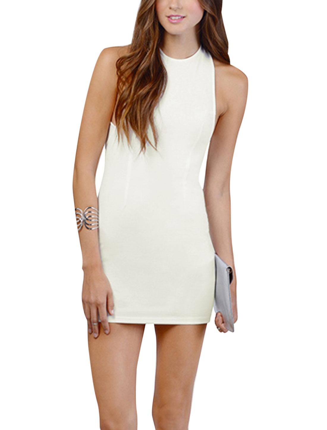 Women Halter Neck Sleeveless Unlined Bandage Dress White XS