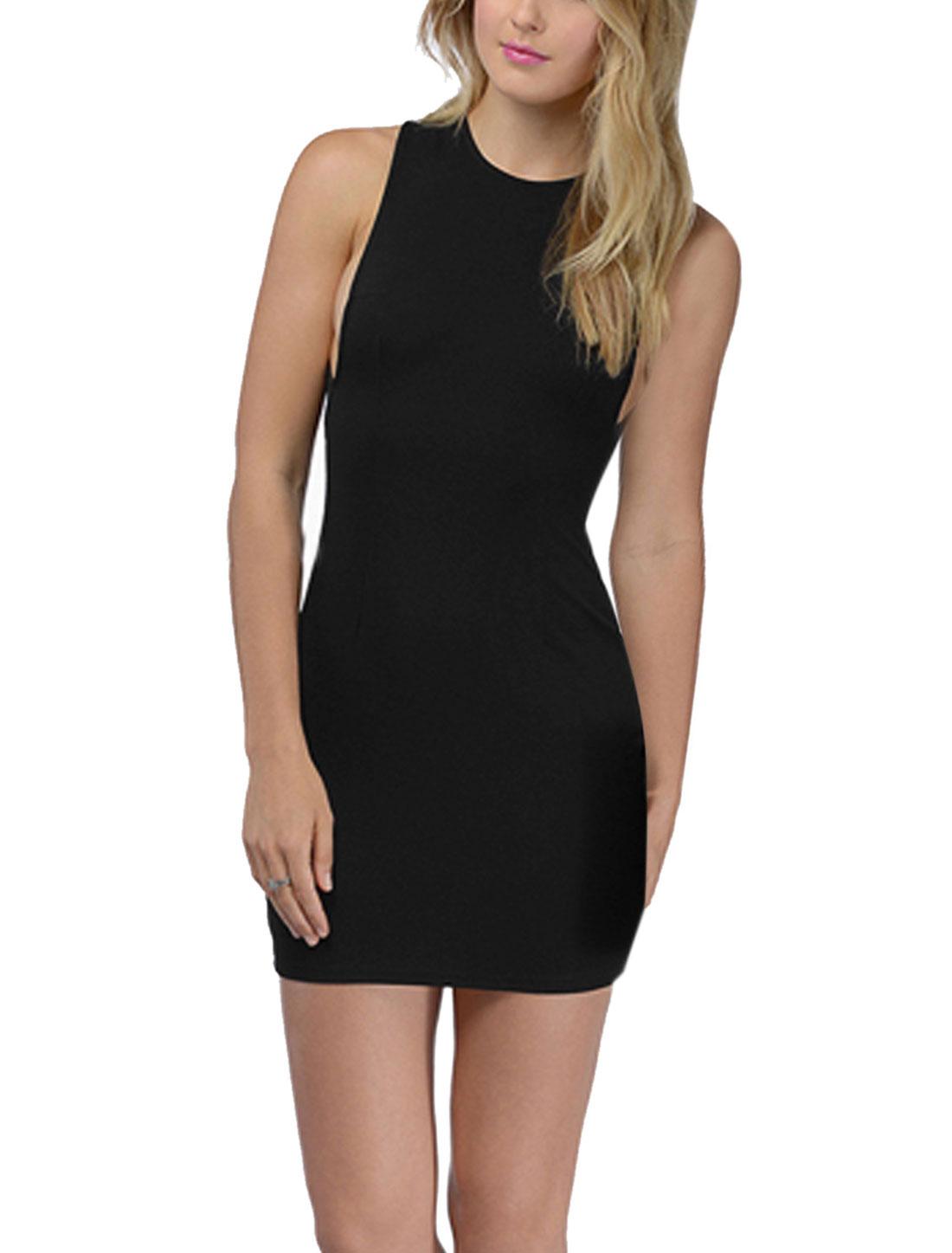 Lady Halter Neck Multi Straps Back Unlined Mini Dress Black M