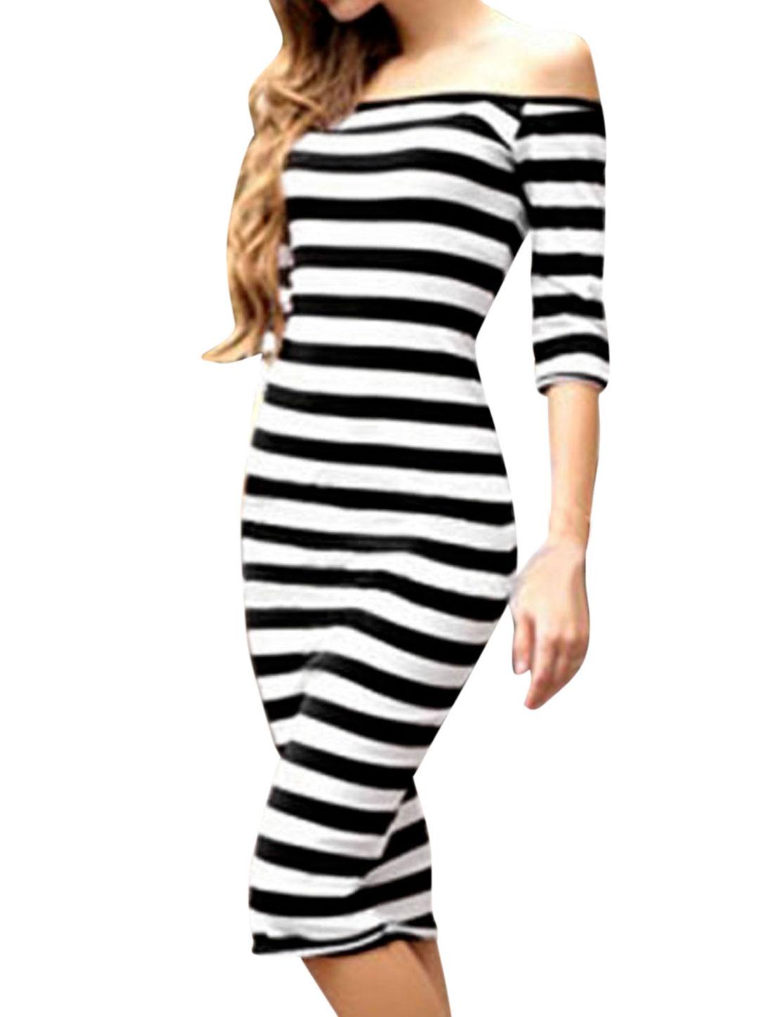Woman Stripes Off Shoulder Three Quarter Sleeves Sheath Dress Black White M