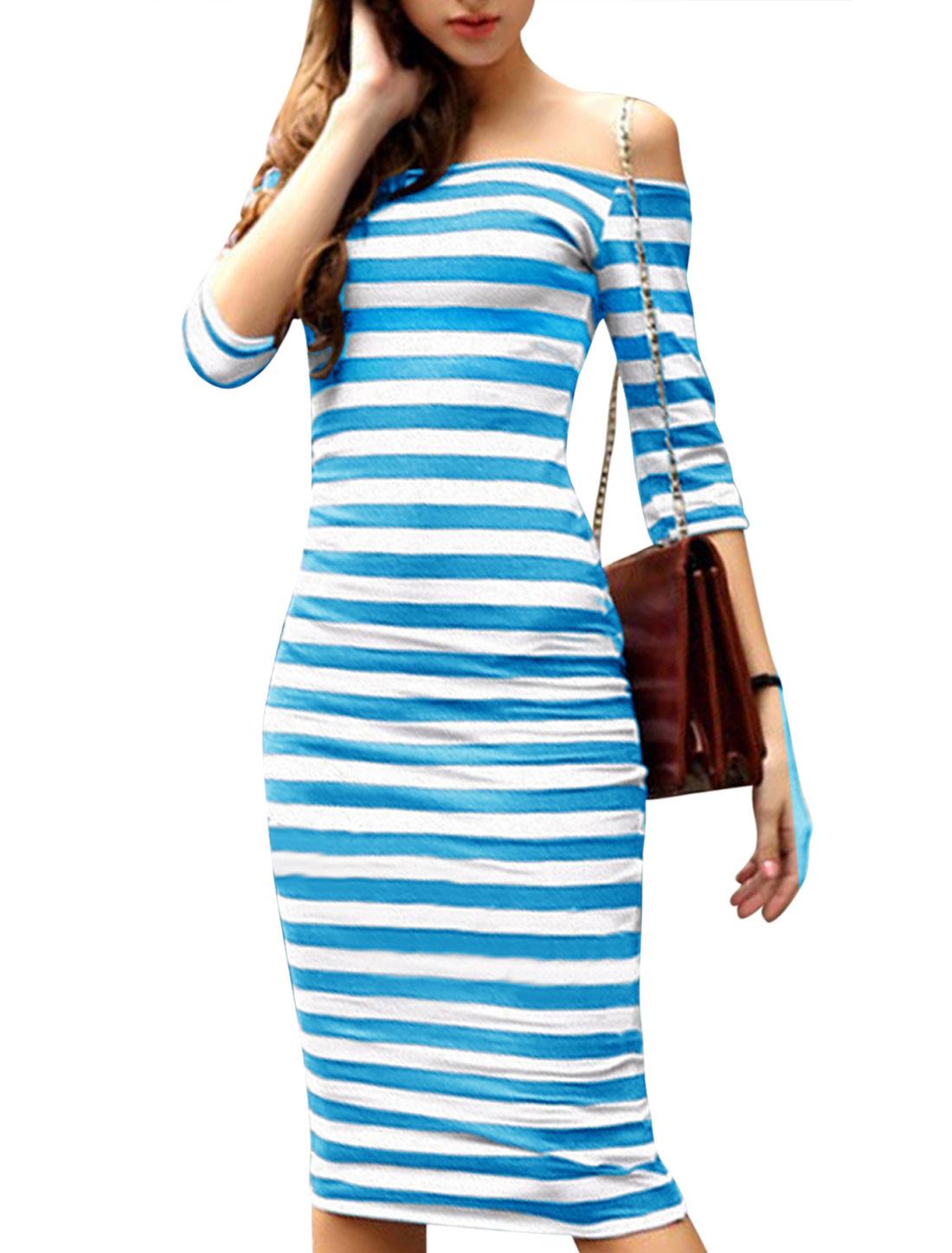 Woman Stripes Off Shoulder 3/4 Sleeves Bodycon Sheath Dress Light Blue White M