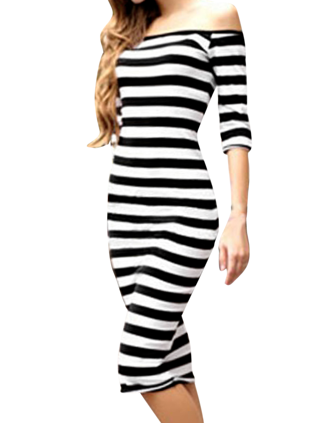 Lady Stripes Off the Shoulder Bodycon Sheath Dress Black White XS