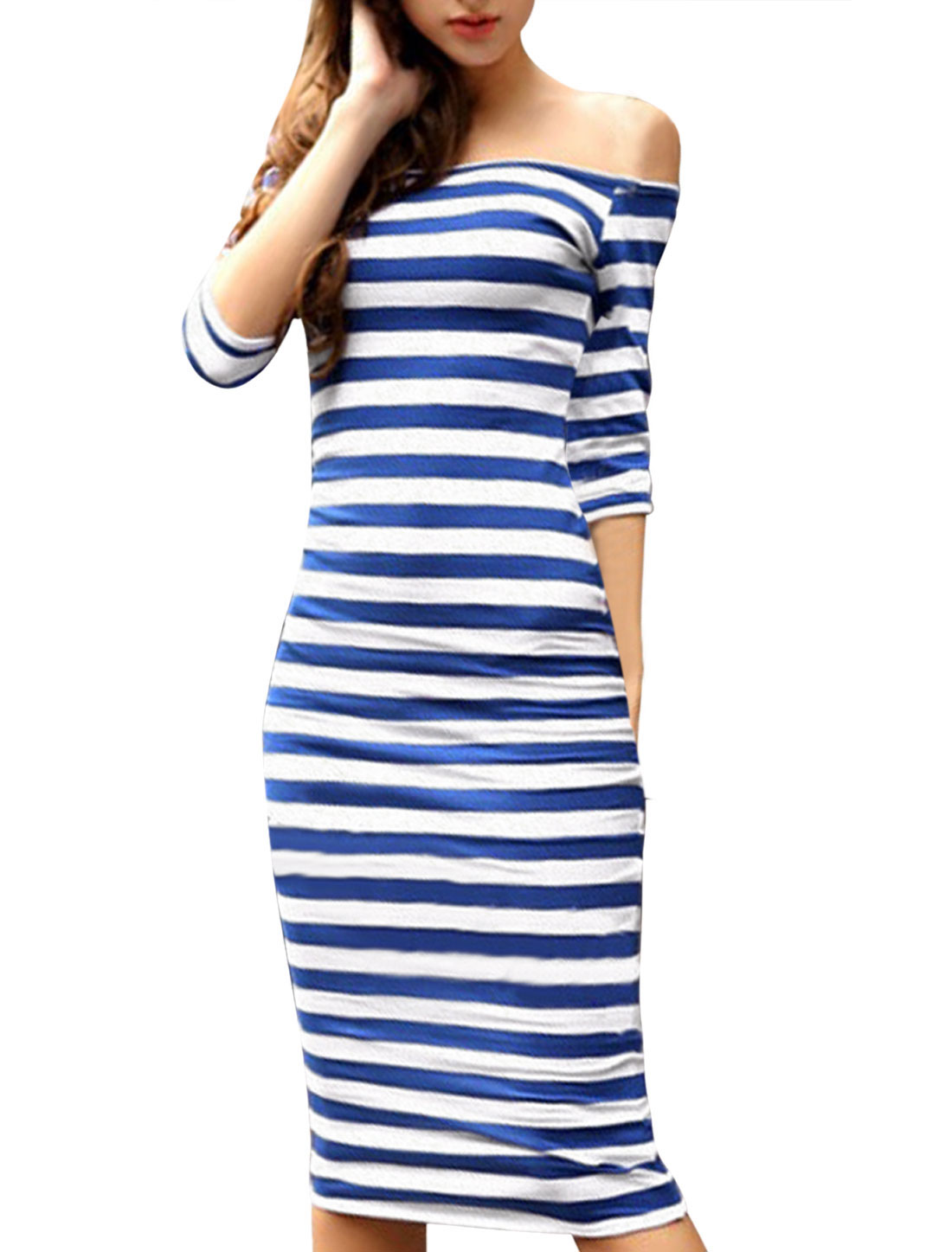Lady Bar Striped Off Shoulder Slipover Bodycon Sheath Dress Dark Blue White XS