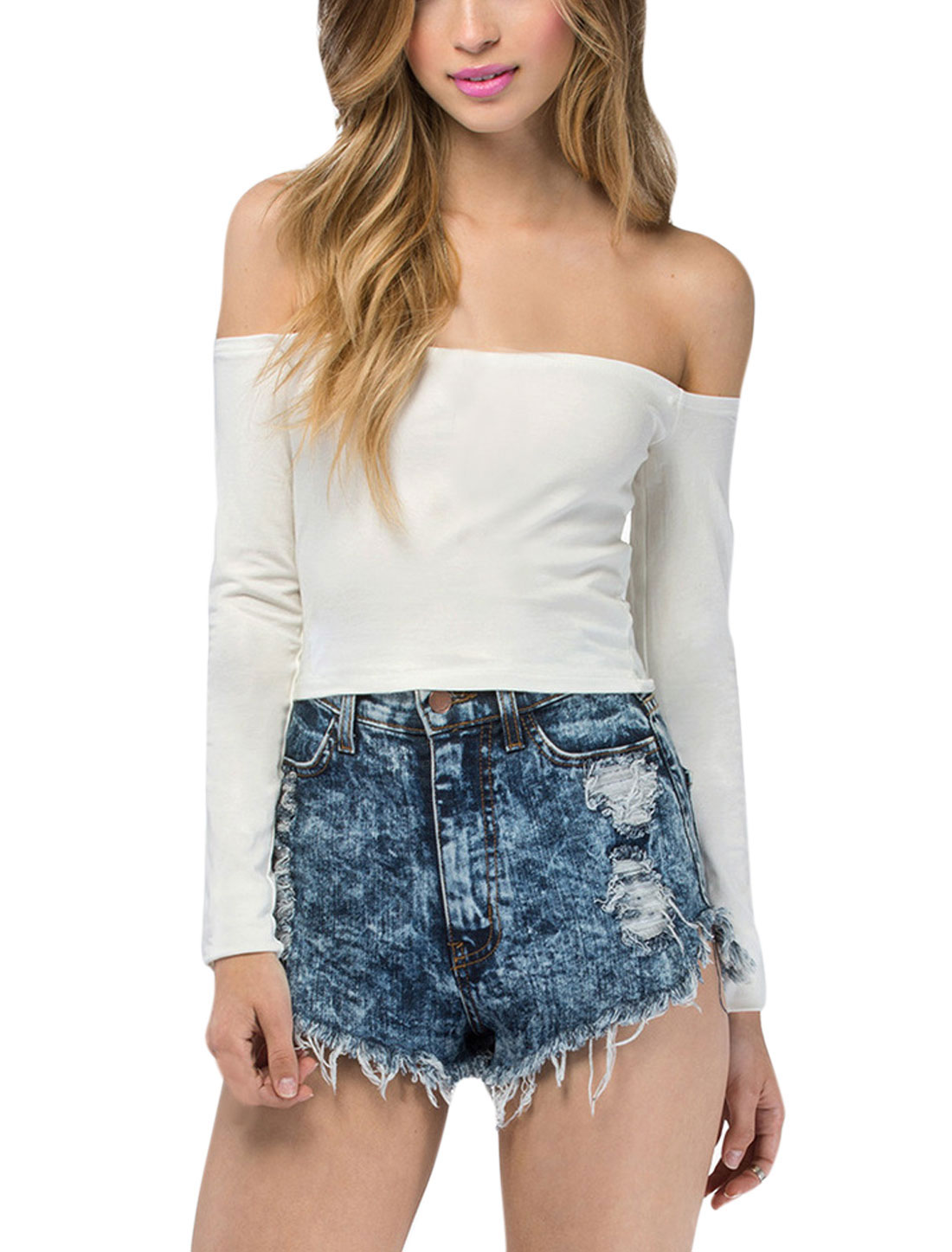 Women Off Shoulder Long Sleeves Sexy Crop Tops White S