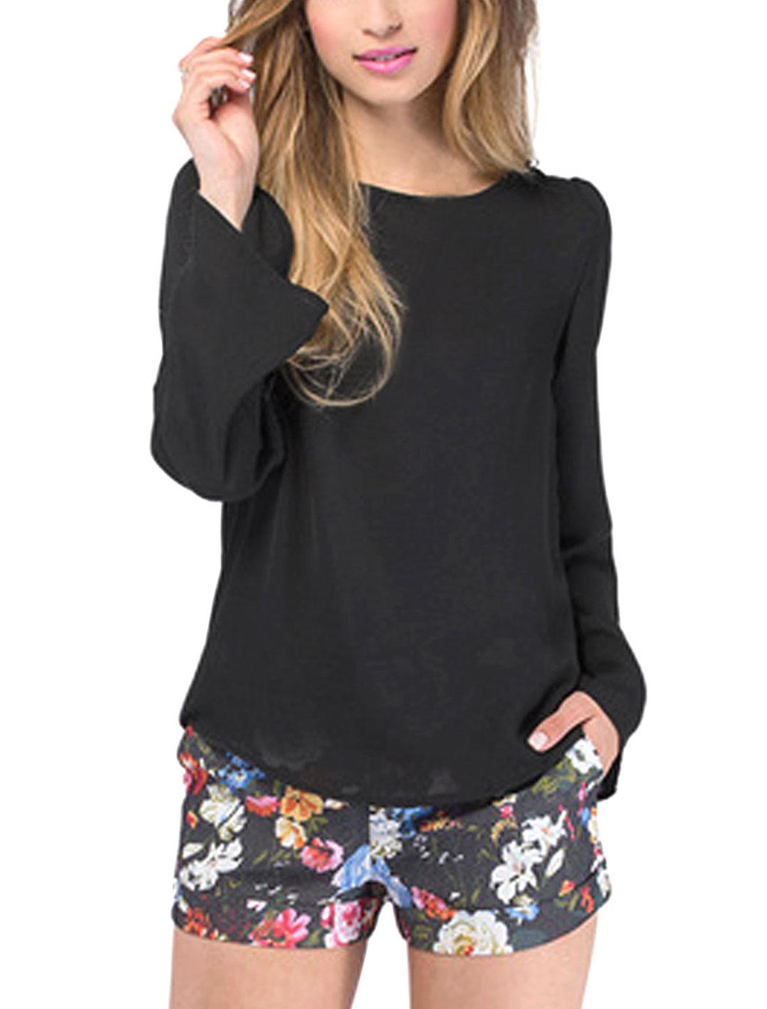 Lady Long Sleeves Curved Hem Chiffon Shirts Black M