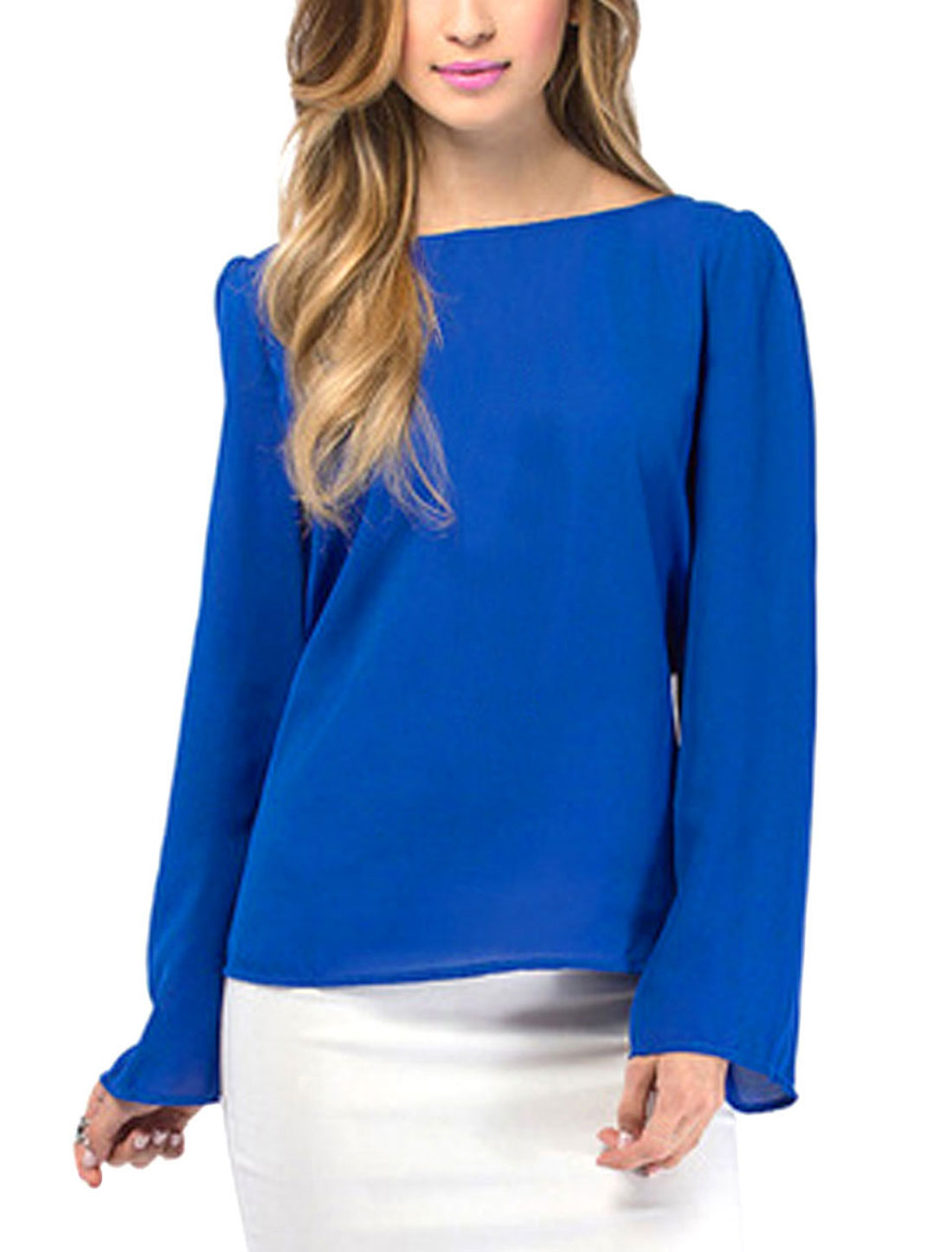 Women Round Neck Long Sleeves Crossover Back Chiffon Shirts Blue M