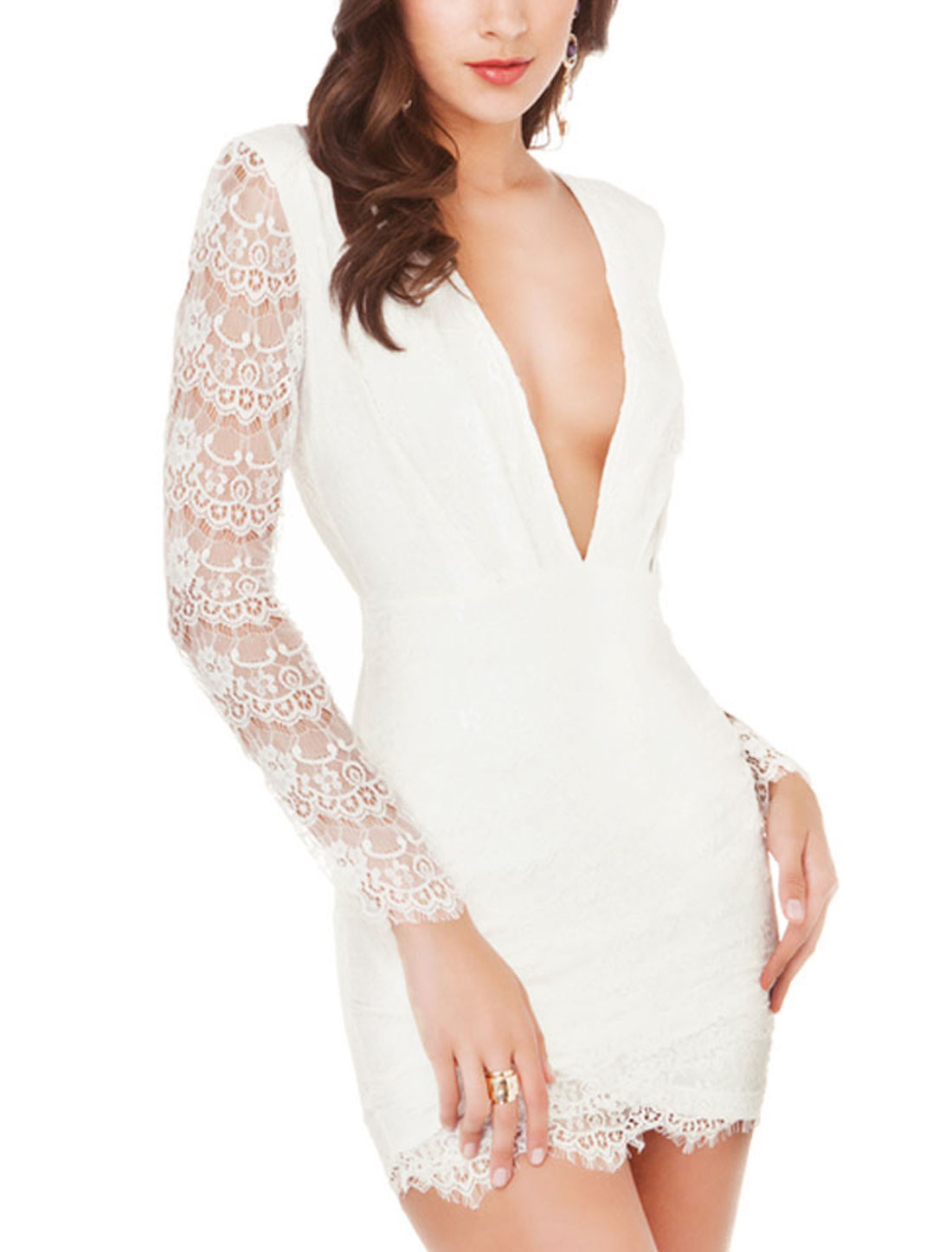 Women Deep V Neck Long Sleeves Cut Out Back Lace Sheath Dress White M