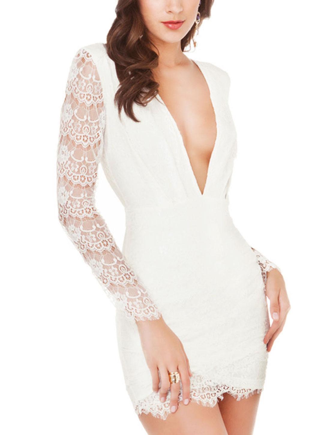 Women Deep V Neck Scalloped Trim Long Sleeves Lace Mini Dress White L
