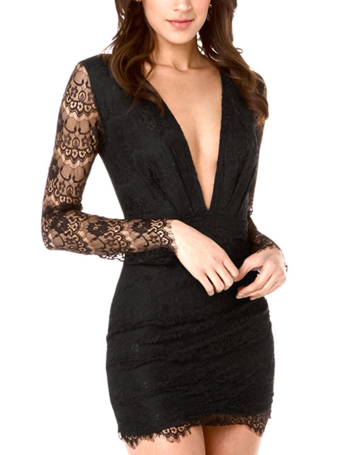 Women Deep v Neck Long Sleeves Full Lined Lace Pencil Dress Black M