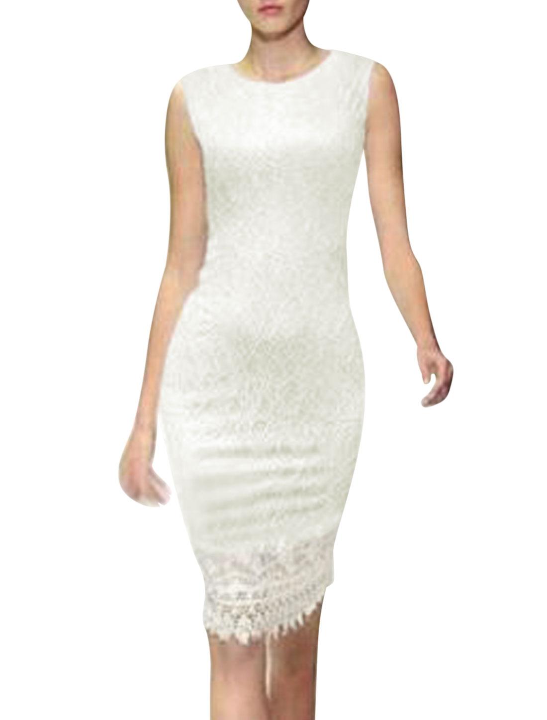 Women Round Neck Sleeveless Semi Sheer Lace Sheath Dress White M