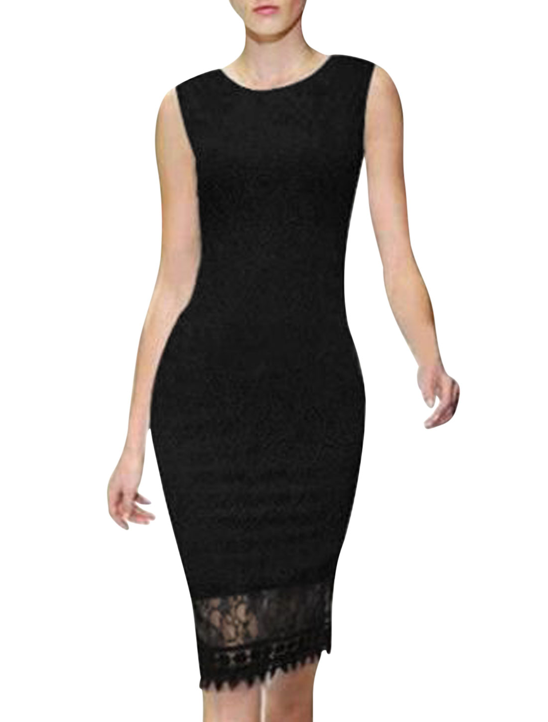 Ladies Round Neck Sleeveless Full Lined Slipover Lace Wiggle Dress Black M
