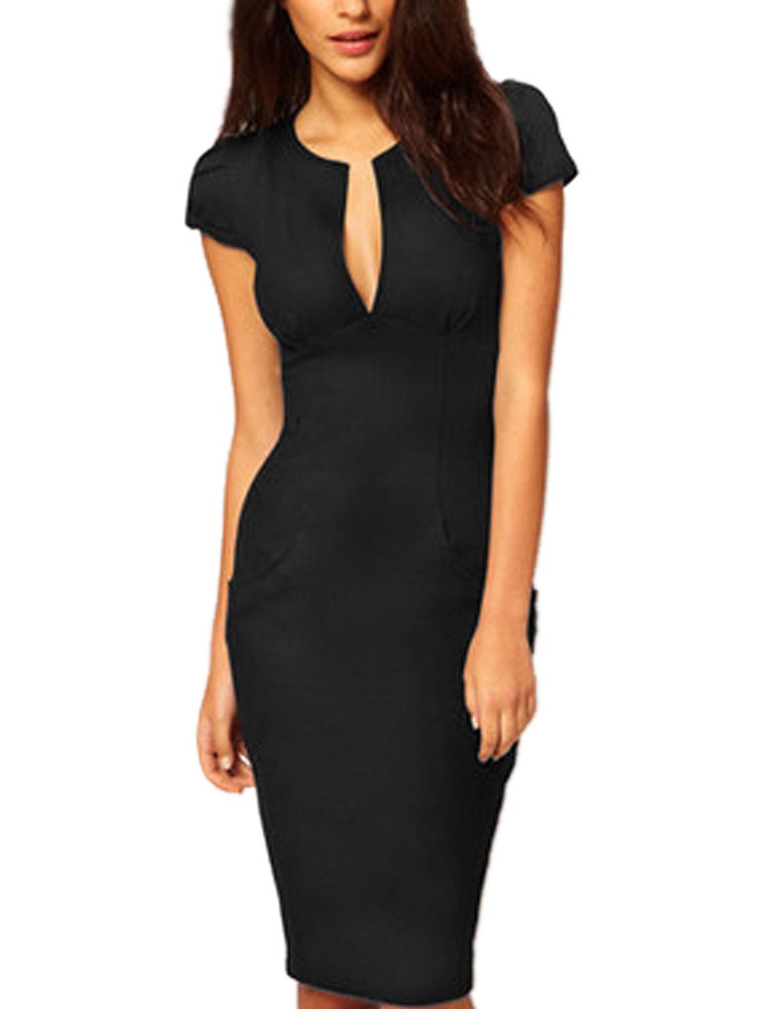 Women Split Neck Cap Sleeves Sheath Dress Black XS