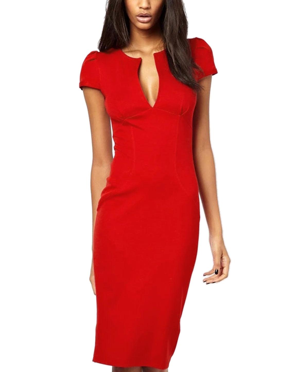 Women Cap Sleeves Split Neckline Unlined Pencil Dress Red M