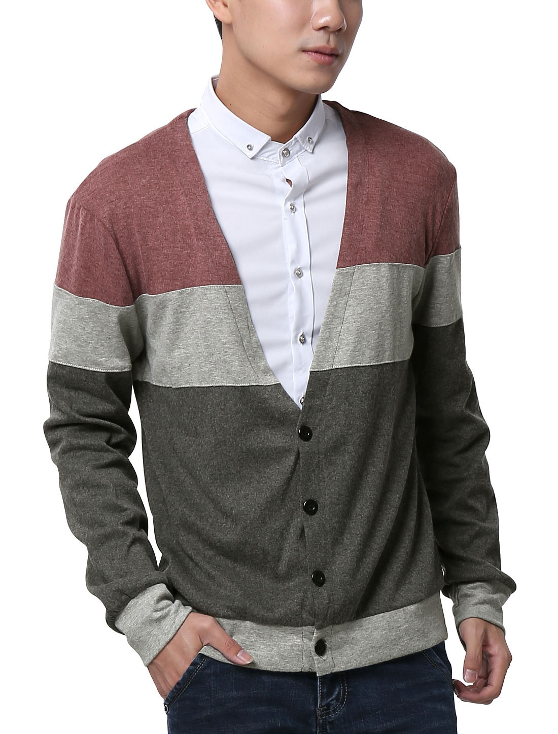 Men Long Sleeve Deep V Neck Color-Block Button Down Cardigan Gray Burgundy M