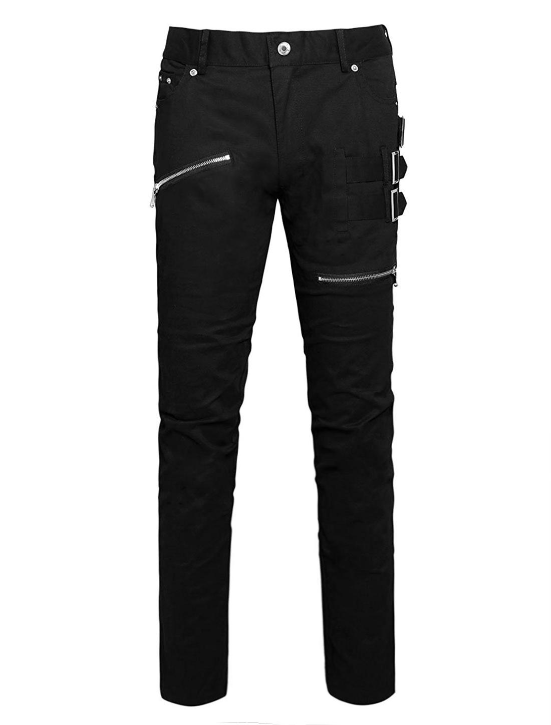 Men Casual Slim Fit Pockets Patch Buckle Zipper Gothic Punk Rock Pants Black XS
