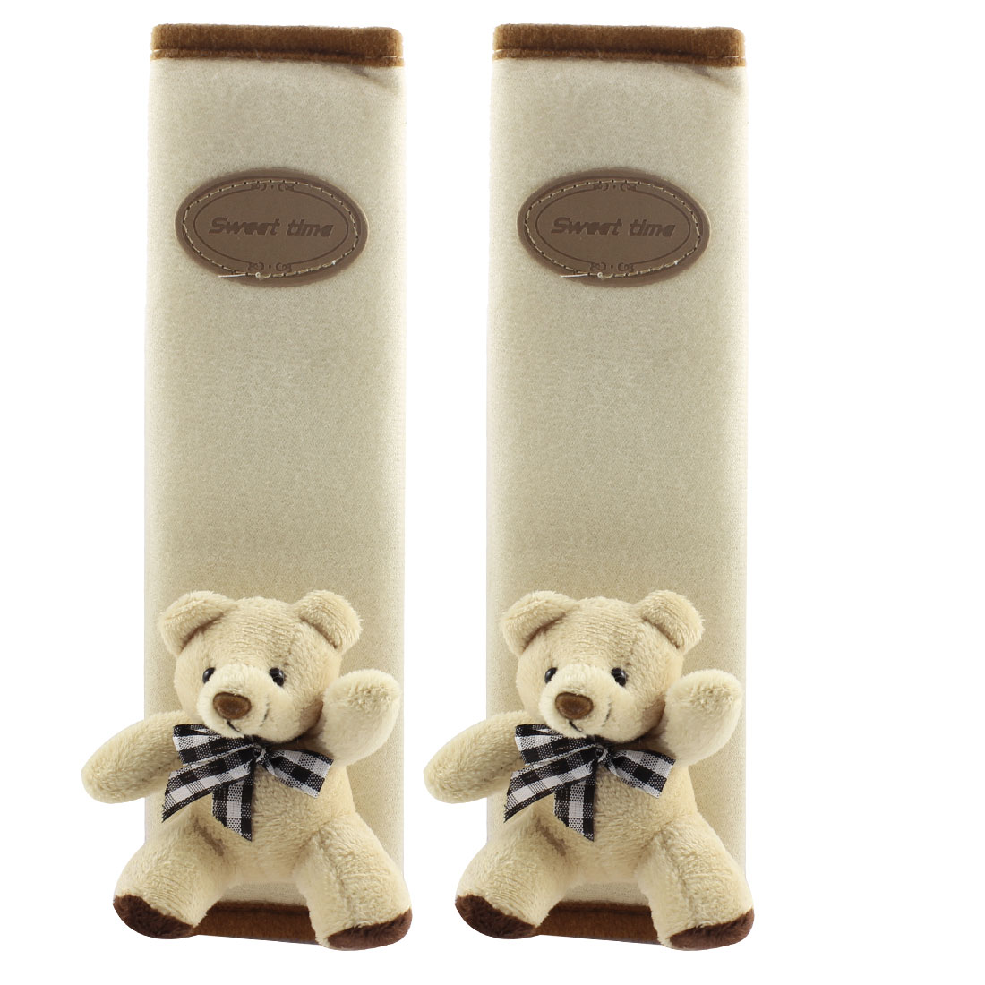 Car Safety Seat Belt Cover Bear Decor Shoulder Protector Pad Cushion Beige 2PCS