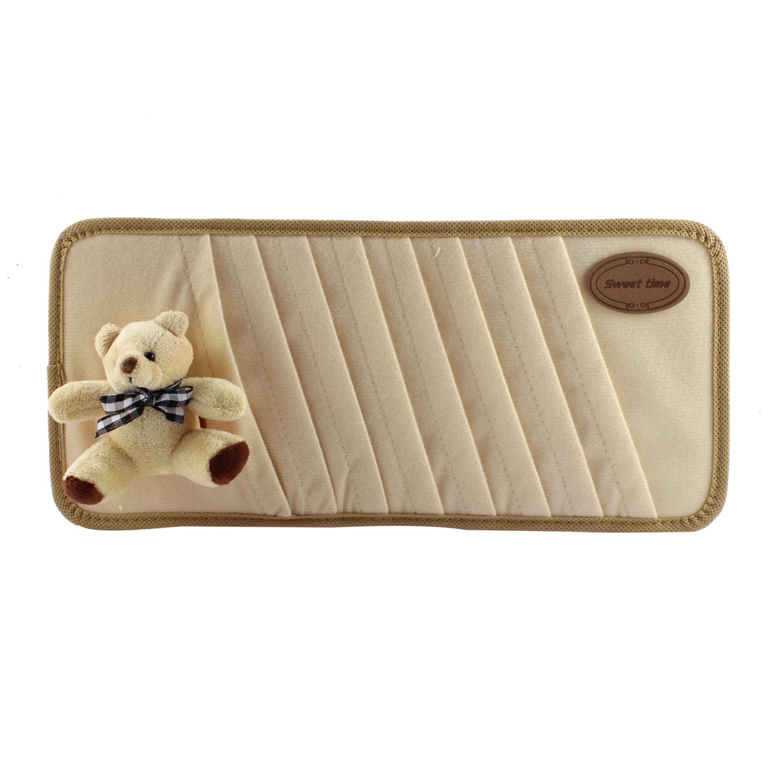 Car Interior Beige Bear Detailing 8 Compartments Sun Visor CD Holder Pocket Case