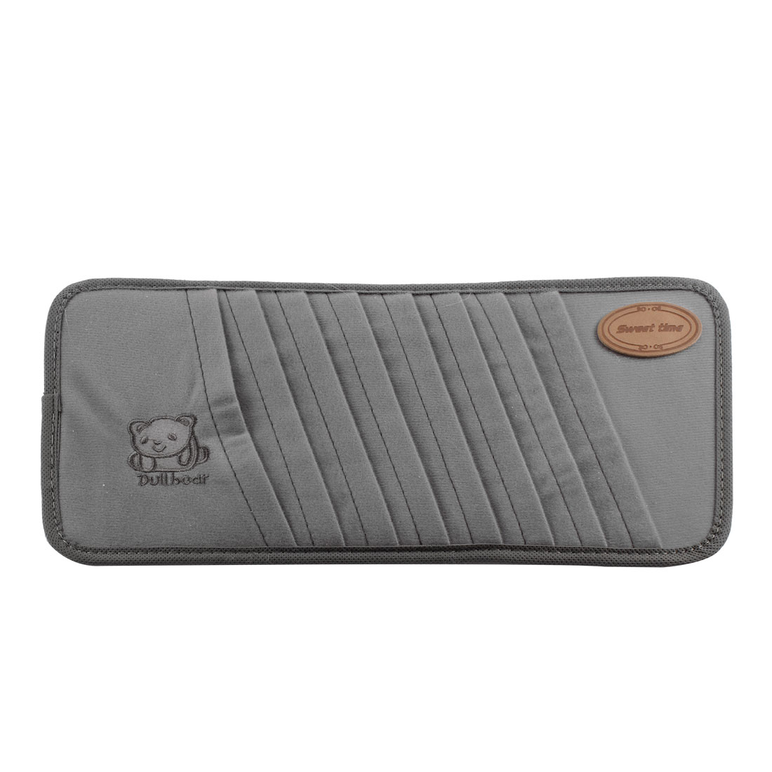 Car Interior Gray Bear Pattern 8 Compartments Sun Visor CD Holder Pocket Case