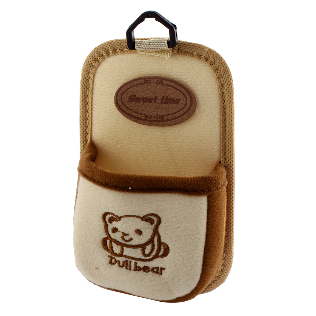 Car Interior Air Vent Bear Pattern Cell Phone Pouch Case Holder Beige