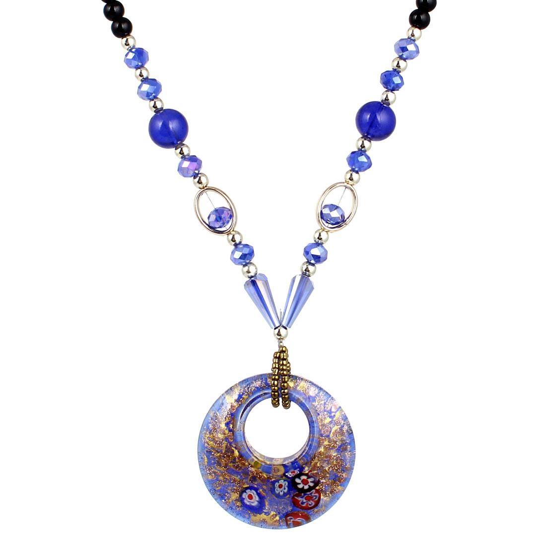 Indigo Blue Black Plastic Beaded Neck String Double Round Shape Glass Pendant Necklace for Lady