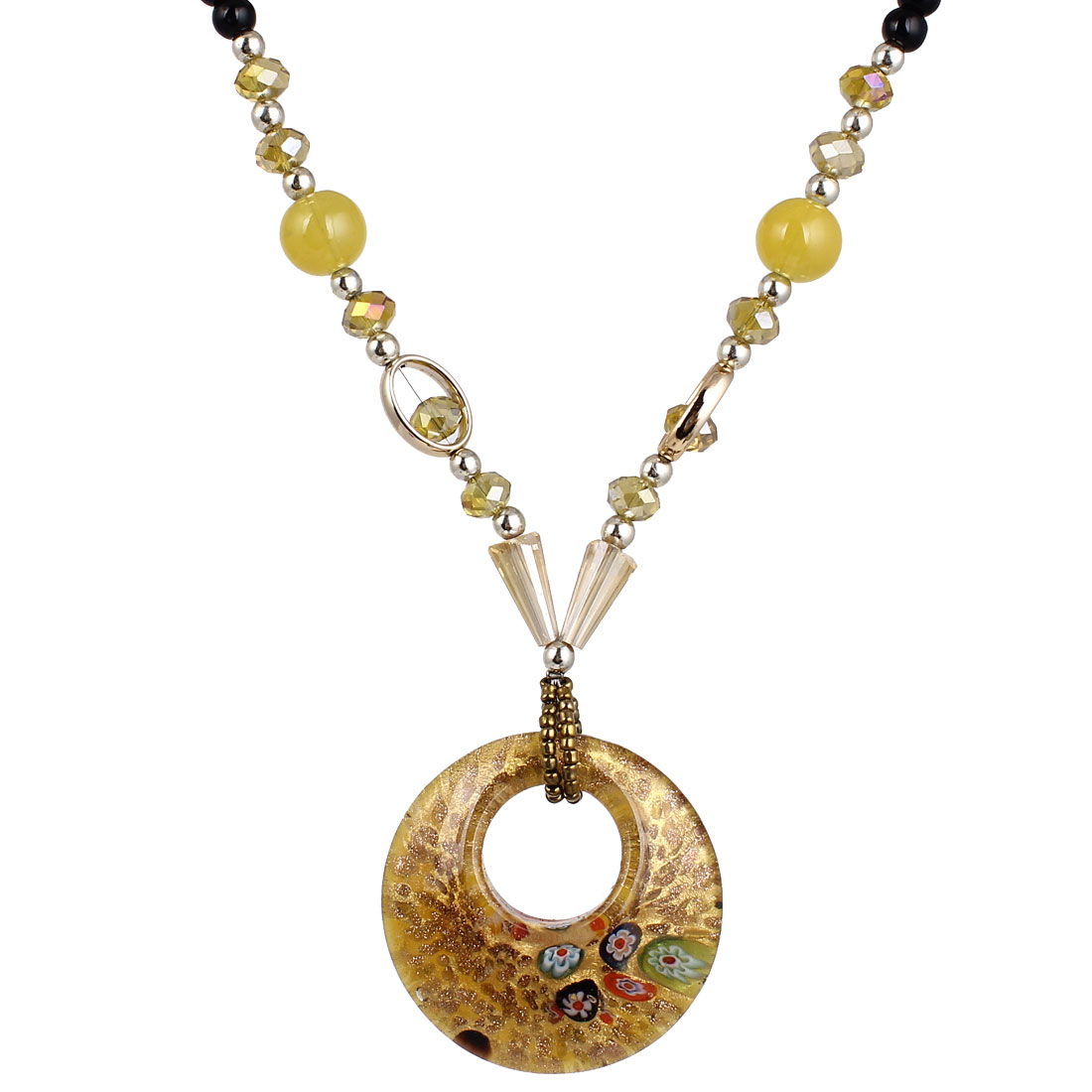 Yellow Black Plastic Beaded Neck String Double Round Shape Glass Pendant Necklace for Lady