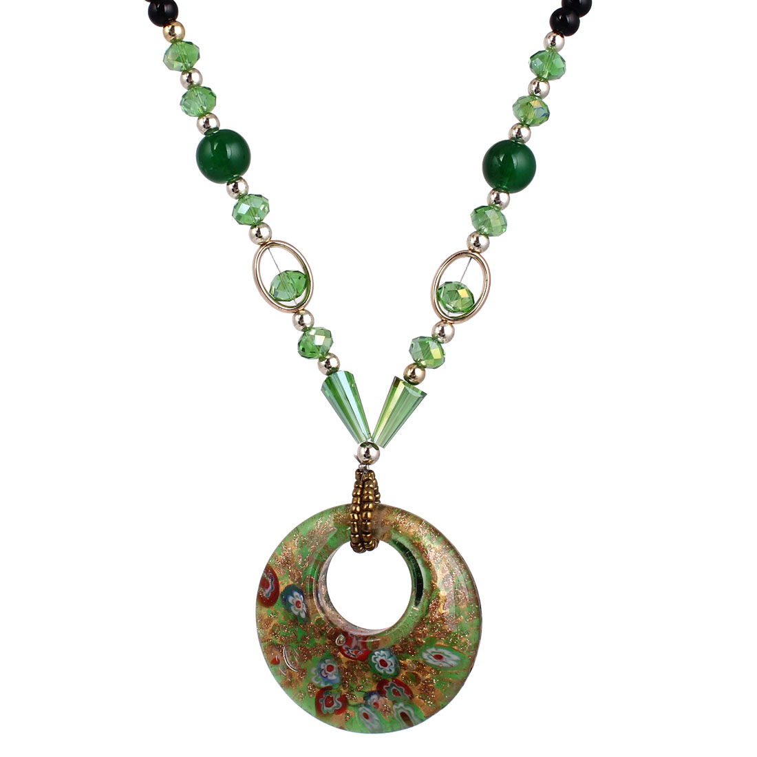Green Black Plastic Beaded Neck String Double Round Shape Glass Pendant Necklace for Lady