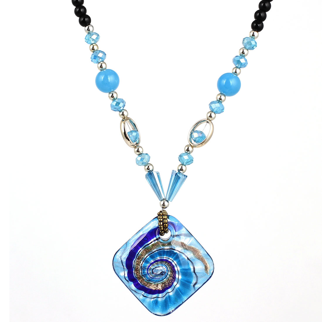 Blue Black Plastic Beaded Neck String Glass Square Pendant Necklace for Woman