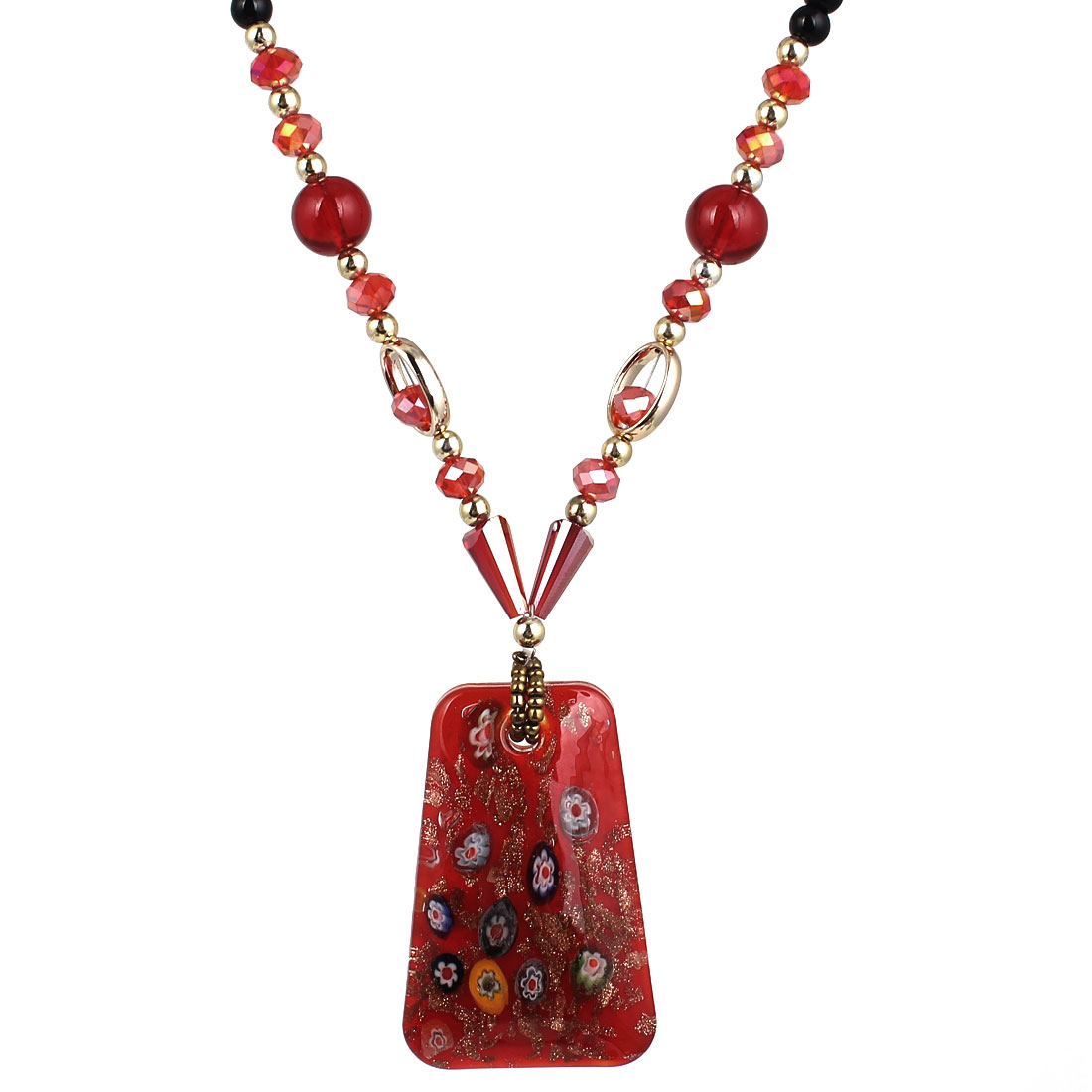 Black Red Plastic Beads Neck String Glass Trapezoid Pendant Necklace for Lady