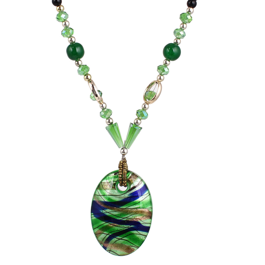 Green Black Plastic Beaded Neck String Round Beads Oval Shape Glass Pendant Necklace
