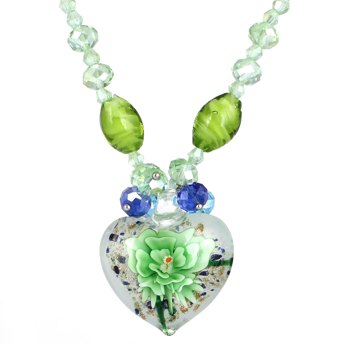 Green Rhinestone Inlaid Neck String White Heart Booming Flower Glass Pendant Necklace for Lady