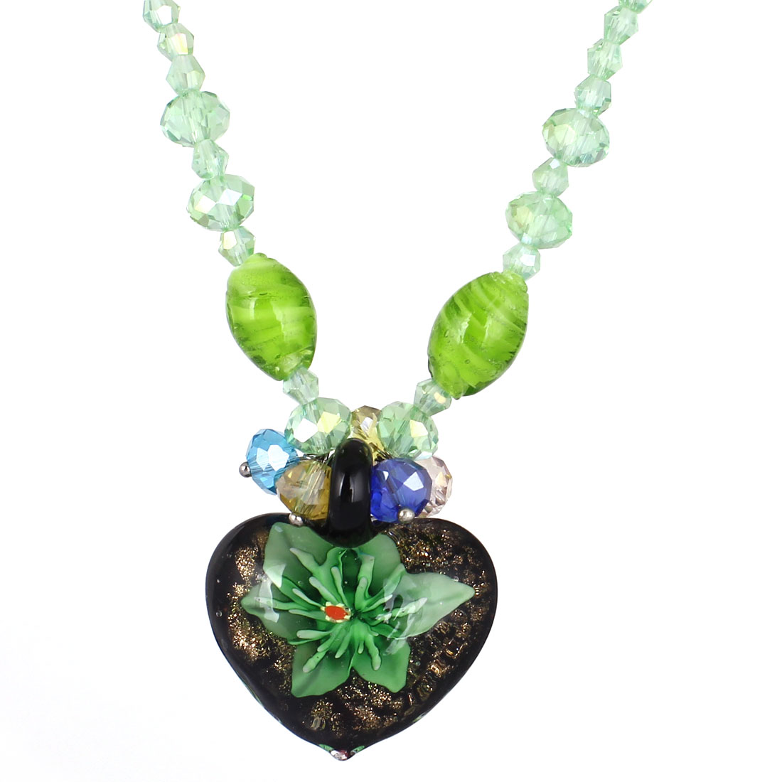 Green Rhinestone Inlaid Neck String Black Heart Booming Flower Press Glass Pendant Necklace for Lady