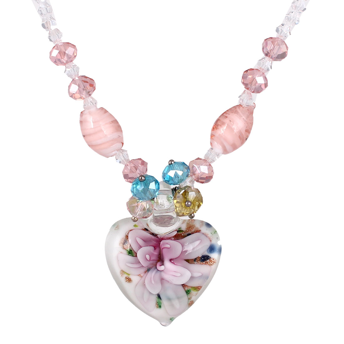 White Rhinestone Inlaid Neck String Glitter Powder Heart Flower Press Glass Pendant Necklace for Lady