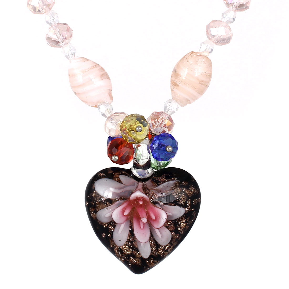 Black Rhinestone Inlaid Neck String Glitter Powder Heart Flower Press Glass Pendant Necklace for Lady
