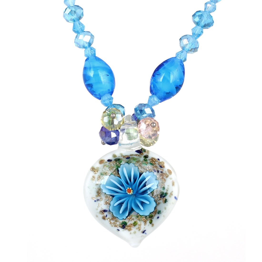 Blue Faceted Rhinestone Inlaid Neck String Clear White Heart Glass Flower Press Pendant Necklace for Lady