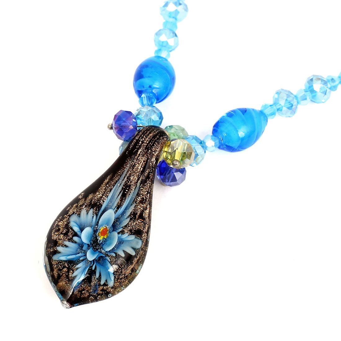 Blue Faceted Rhinestone Inlaid Neck String Black Glass Flower Press Pendant Necklace for Lady