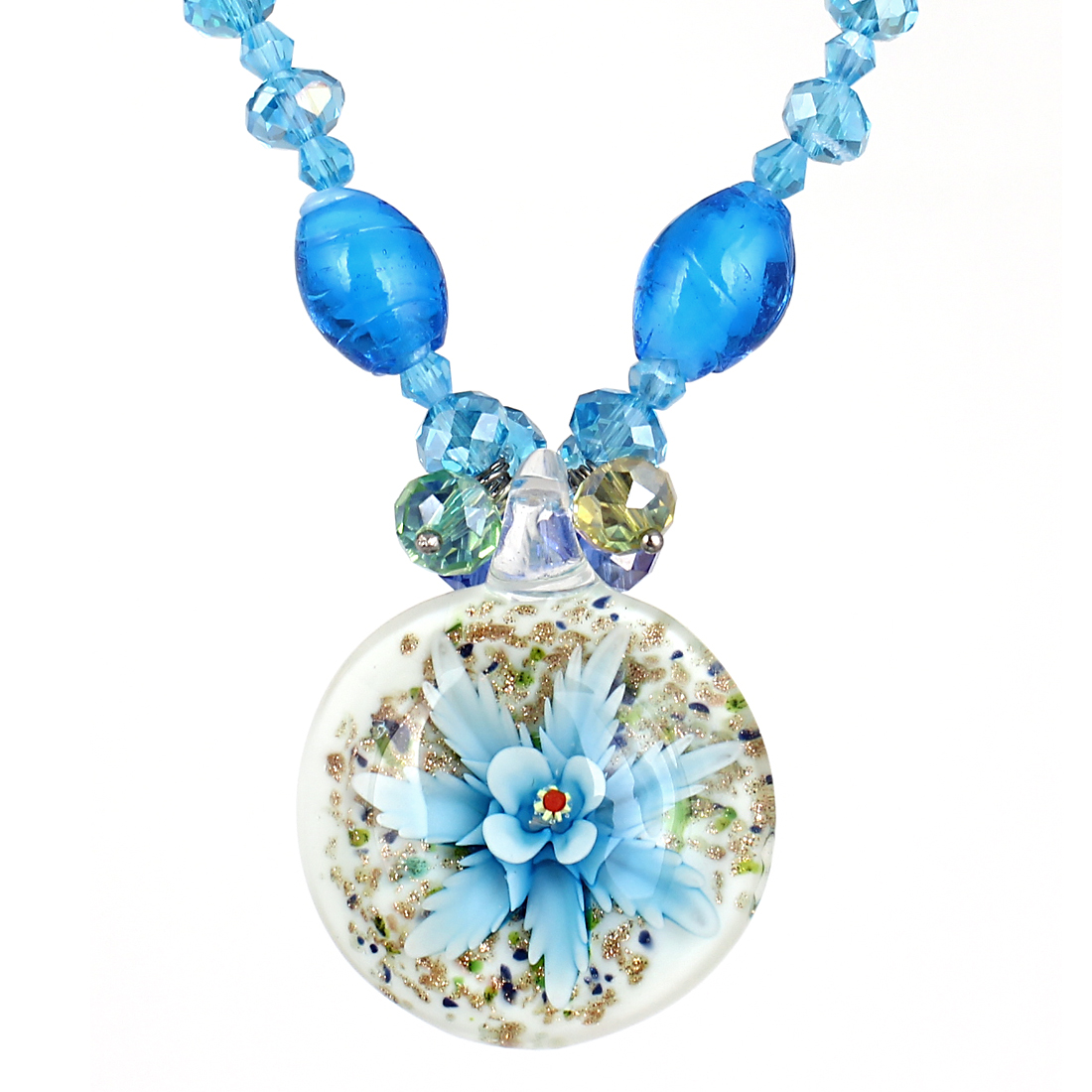 Blue Faceted Rhinestone Inlaid Neck String Round Glass Flower Press Pendant Necklace for Lady
