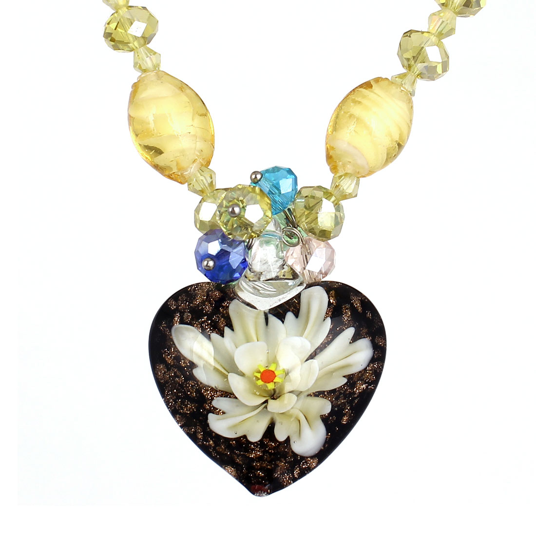 Yellow Rhinestone Inlaid Neck String Heart Booming Flower Press Glass Pendant Necklace for Lady